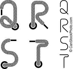 vector shoe lace alphabet letters Q R S T