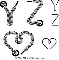 vector shoe lace alphabet letters Y Z heart