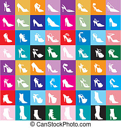 Vector Shoe Silhouettes 2 with colorful background.