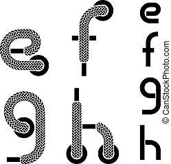 vector shoelace alphabet