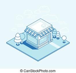 Vector shop building isometric illustration - online shop...
