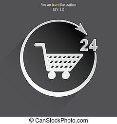 Vector shop icon. 24 hours service.