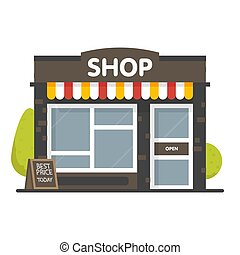 Vector shop or market store front exterior facade, vector illustration background