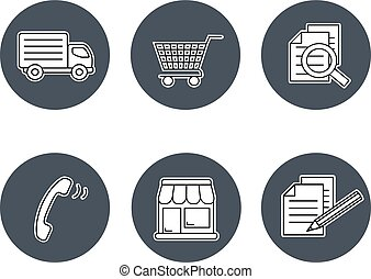 Vector shop symbols, navigation - stores, how to purchase, terms and conditions, contact, sign in and register, shipping, grey circular button