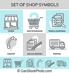 Vector shop symbols, navigation - stores, how to purchase, terms and conditions, contact, sign in and register, shipping
