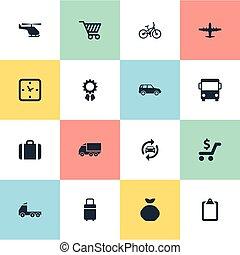 vector, shoppen , set, eenvoudig, velocipede, kar, icons.,...