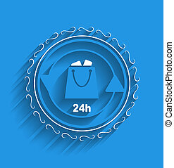 Vector shopping bag icon modern flat design