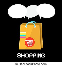 Vector Shopping Bag with Cart and Empty Speech Bubbles on Black Background