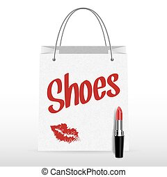 Vector shopping bag with lipstick Shoes inscription