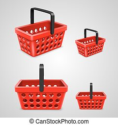 Vector shopping bag with round holes. red
