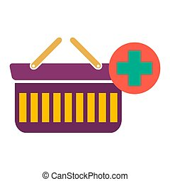 vector shopping basket illustration isolated. market store cart - shopping icon.