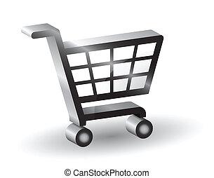Vector shopping basket sign, 3D