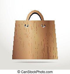 Vector shopping basket web wooden icon