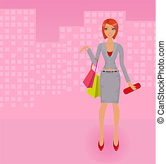 Vector shopping business lady