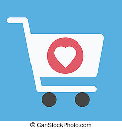 Vector Shopping Cart and Heart Shape Sign Icon