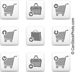 Vector shopping cart and shopping basket icons