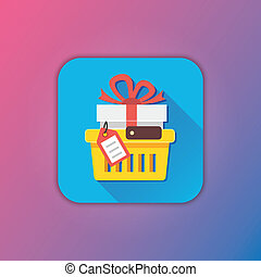 Vector Shopping Cart with Gift and