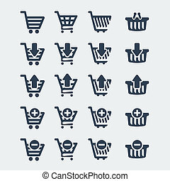 Vector shopping carts icons set