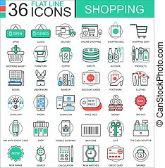 Vector Shopping e-commerce color flat line outline icons for apps and web design. Shopping mall commerce icons elements.