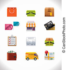 Vector shopping icon set - Set of the shopping and...
