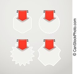 Vector shopping labels templates with red arrows