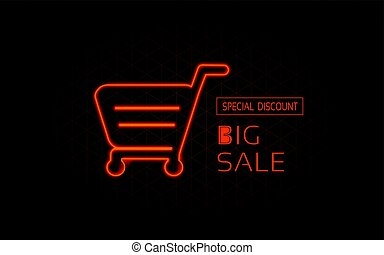 Vector shopping trolley in neon style. Special discount, big sale. Business offer, nightly advertisement of sales. Luminous banner, fashionable signboard.