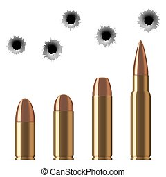 Vector shot gun bullets and bullet holes isolated on white...