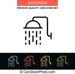 Vector shower icon. Thin line icon