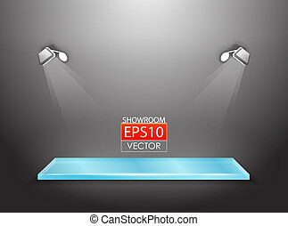 Vector showroom with spotlights - Vector showroom with glass...