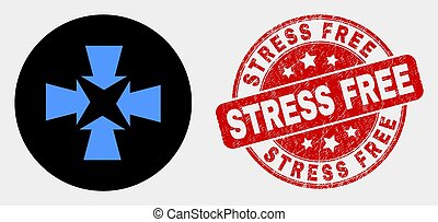 Vector Shrink Arrows Icon and Scratched Stress Free Stamp