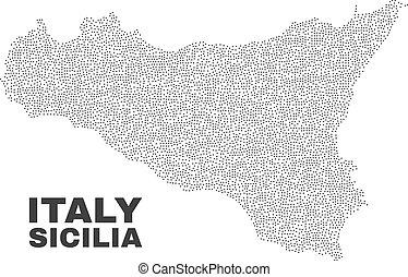 Vector Sicilia Map of Points - Sicilia map designed with...