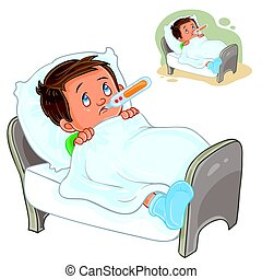 Vector sick little boy lies in bed with a thermometer