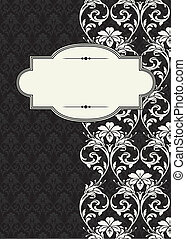 Vector Side Damask Frame - Vector damask frame. Easy to ...
