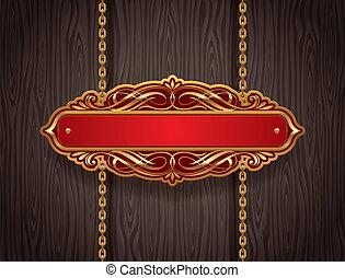 vector, sierlijk, goud, ouderwetse , signboard, hangend, kettingen, tegen, een, houten muur