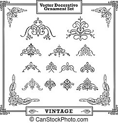 vector, sierlijk, kolken, ornament, set