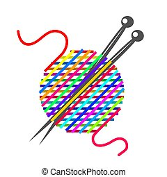 Vector sign ball of yarn, knitting tools. Fashion concept. Stock vector illustration