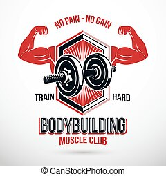 Vector sign composed with muscular sportsman arms and disc weight dumbbell. No pain no gain lettering. Heavy load power lifting championship emblem