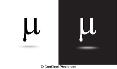 Vector sign Mu on black and white background - Vector sign...