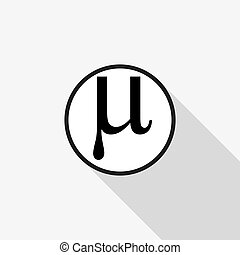 Vector sign Mu with a long shadow on the background - Vector...