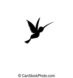 Vector sign silhouette of a hummingbird on a white...