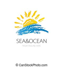 Vector sign sun and ocean wave. Logo marine concept. Logotype for travel agency, boat company, resort or hotel