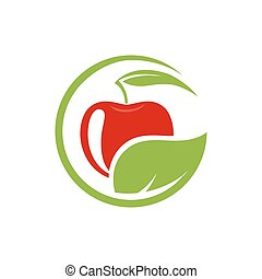 Vector sign with red fruit. Logo for Cosmetics, Ecology activity, food company.