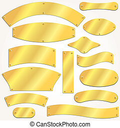 Vector signboards plates gold set - Vector signboards plates...