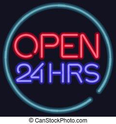 vector, signo., horas, abierto, neón, entrada, 24