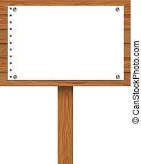 Vector Signpost with Blank Pinned Paper Sheet, Illustration Isolated.