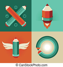 Vector signs in flat style - pencils and icons - Vector...