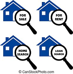 Vector signs of search home, rent, loans, sale label signs.