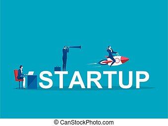 vector., siker, elindít, emberek, fogalom, üzleti transzakció