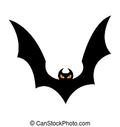 Vector silhouette bat on an isolated white background.
