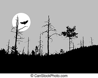 vector silhouette bat on moon background